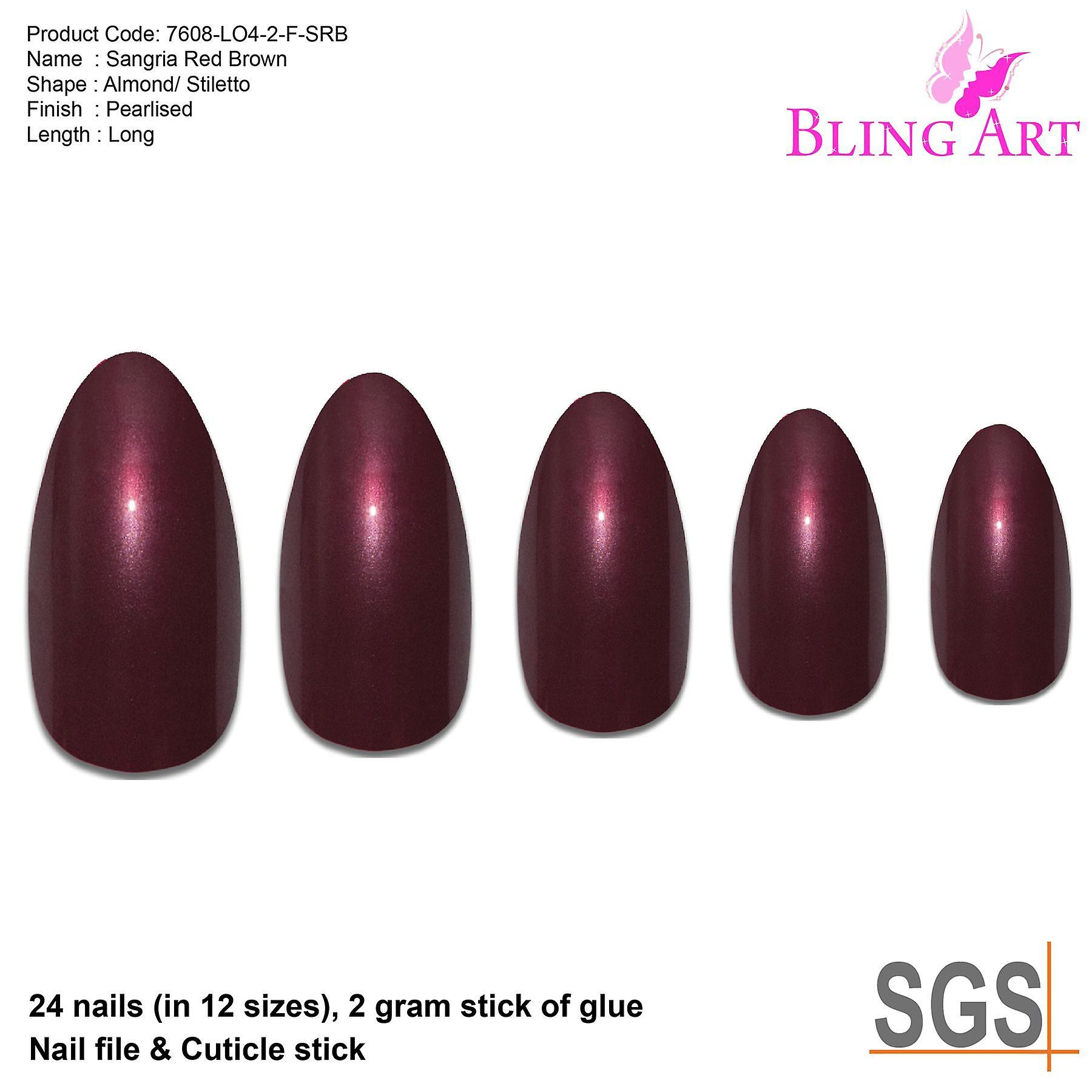 False nails by bling art red brown almond stiletto coffin 24 fake long tips