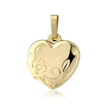 Jewelco London Ladies 9ct Yellow Gold Flower Love Heart Locket Pendant - 10mm