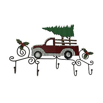 Metal Art Scroll Rustic Red Truck with Tree and Holly Wall Hook Rack