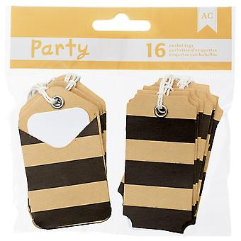 DIY partij Pocket Tags 16pcs-zwarte & Kraft 369838