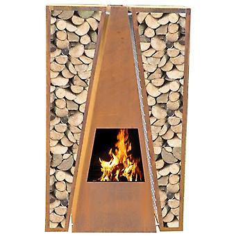 GardenMaxX Maroa Corten Steel Outdoor Fireplace with Wood Store