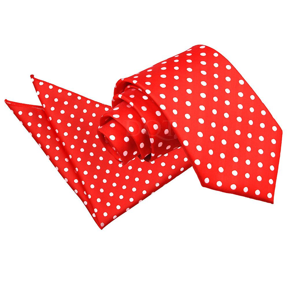 Red Polka Dot Tie & Pocket Square Set
