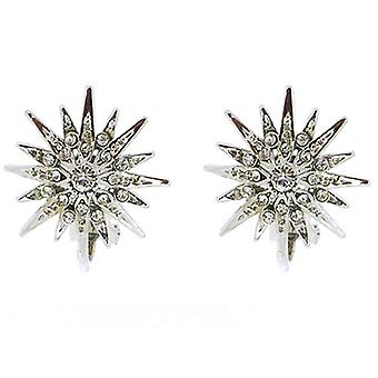 Clip On Earrings Store Silver & Swarovski Crystal Starburst Snowflake Clip On Earrings