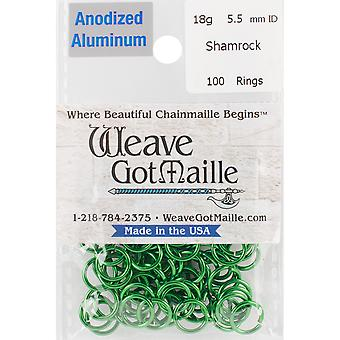 Anozided Aluminum Jumprings 5.5mm 100/Pkg-Green HPA18A55-SHAM