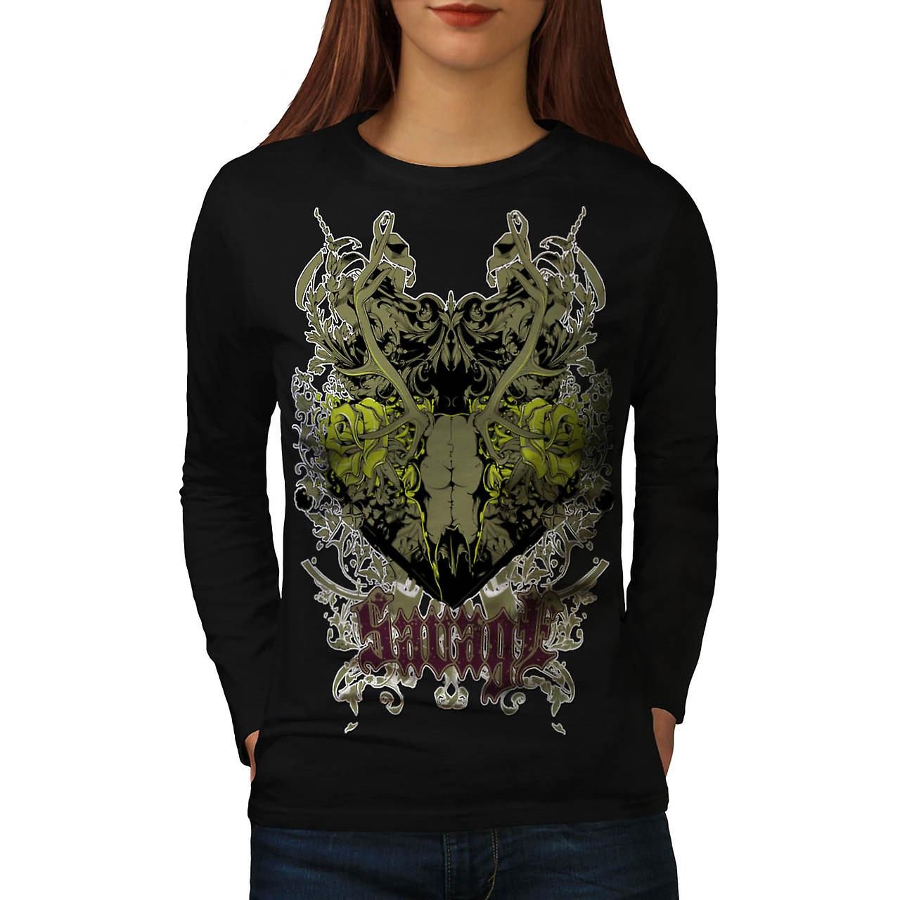 Savage Animal Skull Goat Head Women Black Long Sleeve T-shirt | Wellcoda