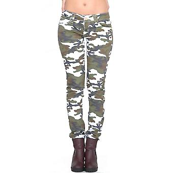 Army White Brown Green Camouflage Skinny Stretch Slim Jeans