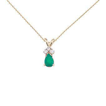 14K Yellow Gold Pear Shaped Emerald Pendant with Diamonds and 18