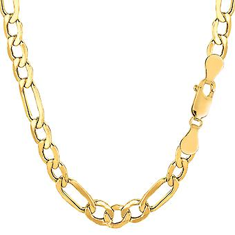 14k Yellow Gold Hollow Figaro Chain Bracelet, 6.5mm, 8.5