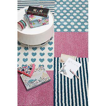Piger Pink & blå hjerter & striber soveværelse tæppe