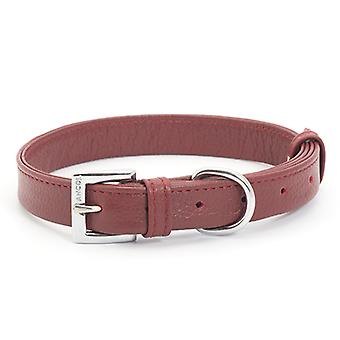 Indulgence Folded Leather Collar Red 16mm X22-26cm
