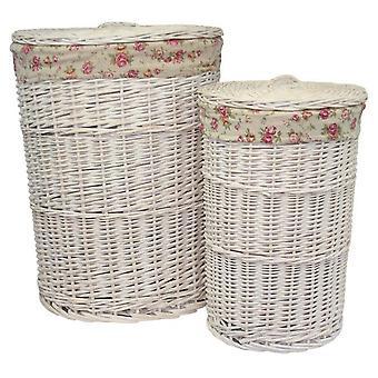 Set de 2 paniers à linge ronds blanc lavage avec une Rose de jardin doublure