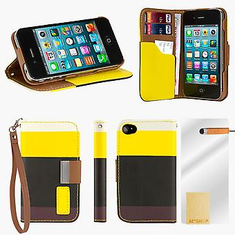 Multiple Stripe wallet case + stylus for Apple iPhone 5 5S SE - Yellow