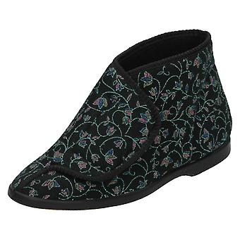 Womens Spot On Velcro Bootee Slippers