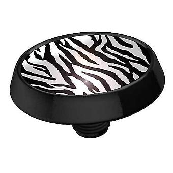 Micro-Dermal Anchor Top Flat Disk Black, Body Jewellery, Zebra