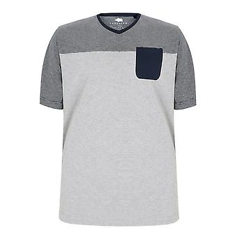 BadRhino Navy & Grey Marl Stripe V-Neck Pocket T-Shirt