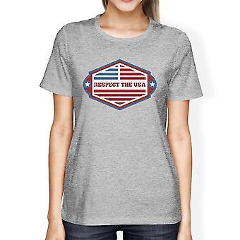 Respektera USA amerikanska flaggan skjorta dam Grå Kortärmad Tee