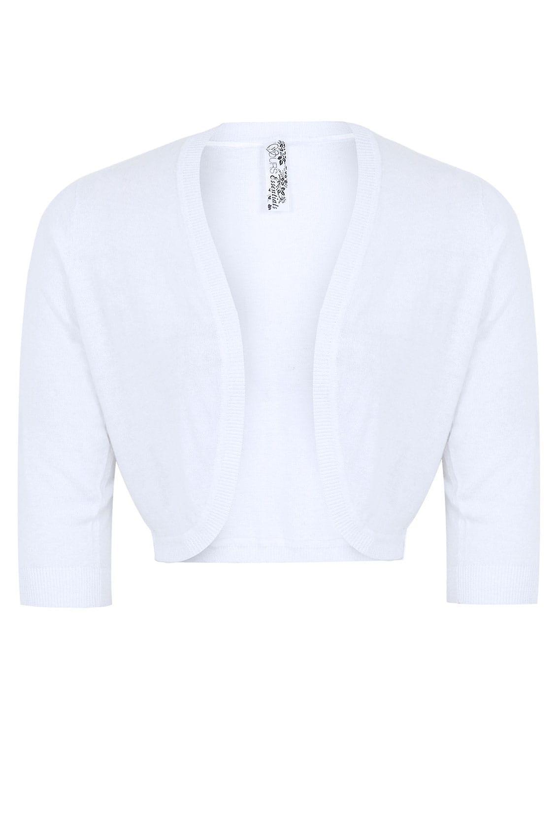 White 3/4 Sleeve Curved Hem Fine Knit Shrug