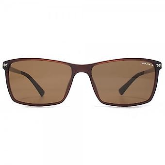 Police Rectangle Sunglasses In Matte Brown Polarised