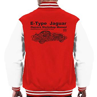 Haynes Owners Workshop Manual Jaguar E Type zwarte mannen Varsity Jacket