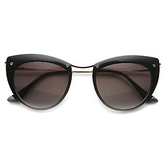 Womens High Fashion Metal Temple Exposed Screw Mod Cat Eye Sunglasses