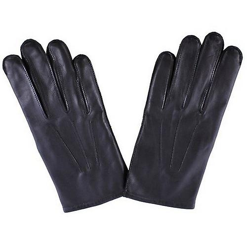 Dents Wool Lined Plain Leather Gloves - Black