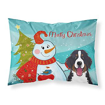 Snowman with Bernese Mountain Dog Fabric Standard Pillowcase