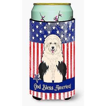 Patriotic USA Old English Sheepdog Tall Boy Beverage Insulator Hugger