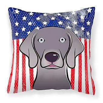 Americano bandera y Weimaraner tejido decorativo de la almohadilla