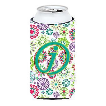 Letra J flores rosa Teal inicial alto chico bebida aislador Hugger