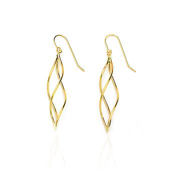 14k Yellow Gold Twisted Pointing Oval Drop Earring with Fish Hook in Gift Box
