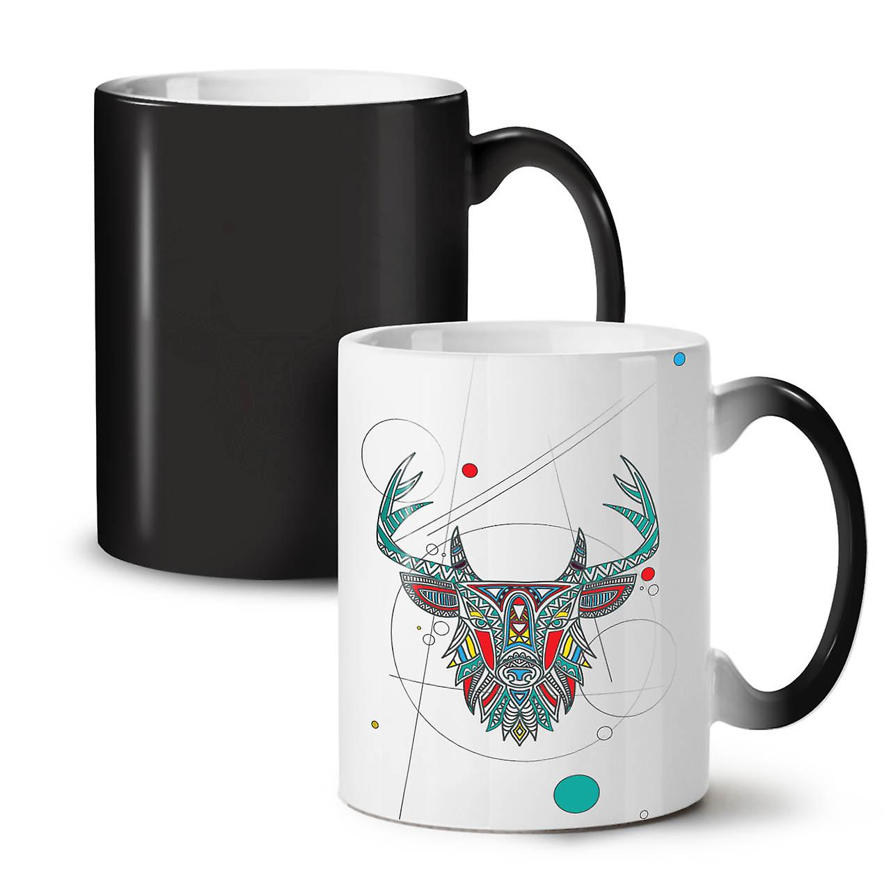 Cerf Élégant 11 Thé Tasse Nouveau OzWellcoda Céramique Noire Changeant Coloris Café Bête rdthsQ