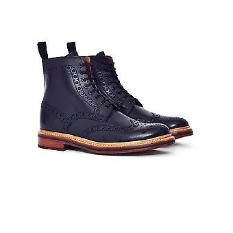 Grenson Fred Leather Brogue Boot Black