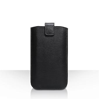 Caseflex Medium Textured Leather-Effect Return Phone Pouch - Black