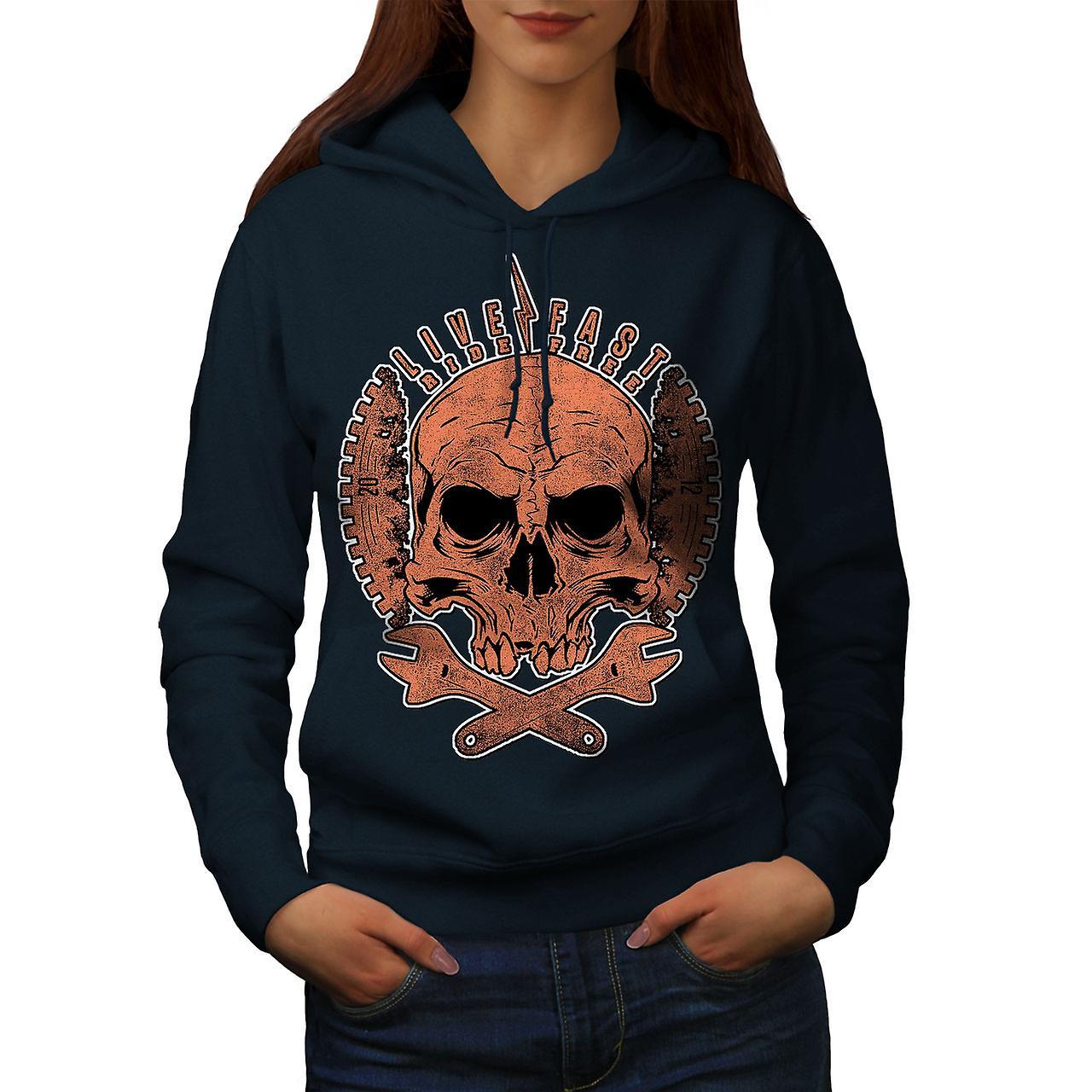 Living Life Biker Skull Women NavyHoodie | Wellcoda