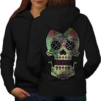 Skull Artsy Symbols Women BlackHoodie Back | Wellcoda