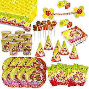 Happy birthday 2 Birthd party set XL 71-teilig for 6 guests decoration party package