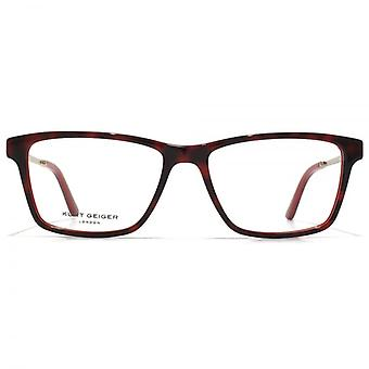 Kurt Geiger Susan Rectangular Acetate Glasses In Red Tortoiseshell With Red Interior