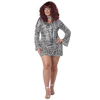 Disco Diva 1970s 60s Retro Silver Sequin Hippie Hippy Womens Costume Plus