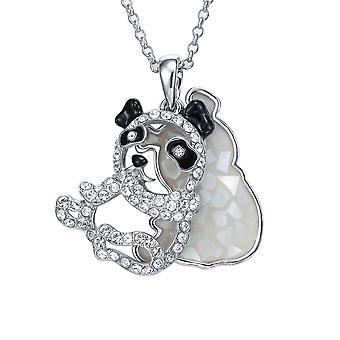 Abalone and Swarovski Elements white Crystal Panda pendant