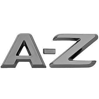 Luxbling bil krom 3D brev - sort A-Z