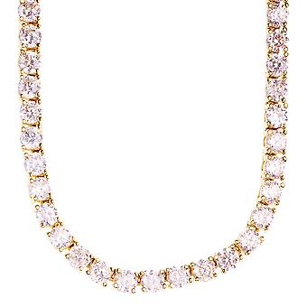 Iced out bling ZIRCONIA stone 1 ROW chain - gold / clear 4 mm