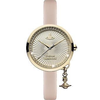 Vivienne Westwood Bow Orb Charm Pink Leather Strap Gold Ladies' Watch