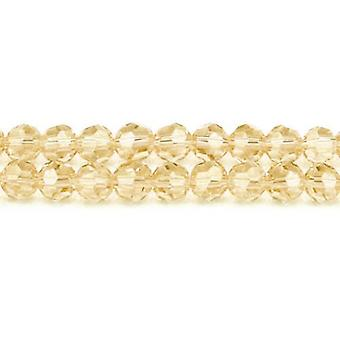 Strand 70+ Champagne Czech Crystal Glass 8mm Faceted Round Beads GC3549-3