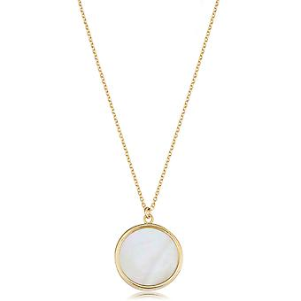 14K Yellow Gold Mother Of Pearl Disc Necklace, 18
