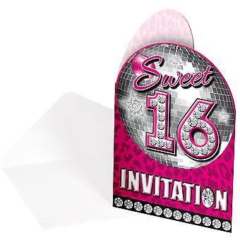 Invitasjon Invitasjoner invitasjon kort Sweet 16 rosa Teenieparty bursdag 8 biter