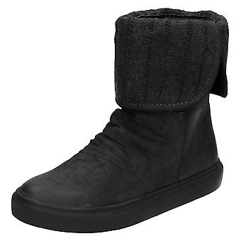 Ladies Down To Earth Thick Sole Knitted Turn Over Ankle Boot