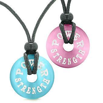 Makt styrke kjærlighet par eller beste venner amuletter rosa himmelen blå simulert katter øye halskjeder