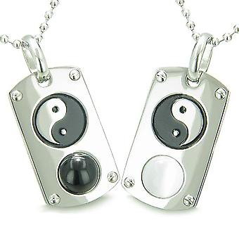 Positive Energy Yin Yang Love Couple Set Magic Amulets Dog Tags Black Onyx White Cats Eye Necklaces