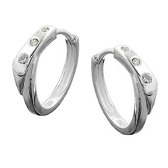 Round white cubic zirconia flap hinge Creole silver hoop earrings Silver 925