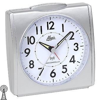 Magic 1895/19 alarm clock radio alarm clock silver, square square with light Snooze